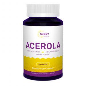 Ацерола, Acerola, Sunny Caps, 500 мг, 100 таблеток