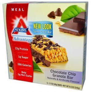 Батончики с мюслями и шоколадной крошкой, Chocolate Chip Granola Bar, Atkins, 5 бат.