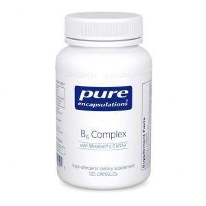 Витамин B6 (комплекс), B6 Complex, Pure Encapsulations, для поддержки клеточного, сердечно-сосудистого, неврологического и психологического здоровья, 120 капсул