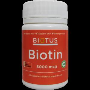 Биотин, Biotin, Biotus, 5000 мкг, 30 капсул