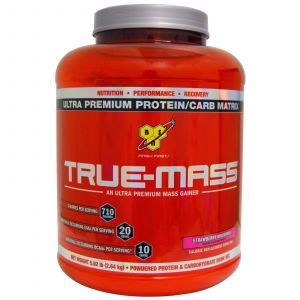 Изолят сывороточного протеина, клубника, True-Mass, BSN, 2.64 кг