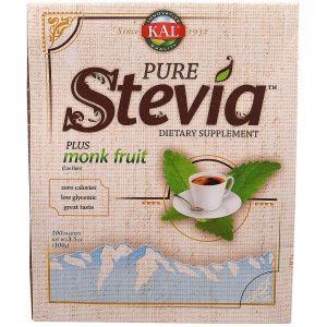 Стевия, Pure Stevia, KAL, 100 пакетов, 100 г