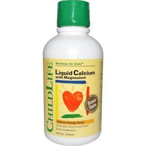 Жидкий кальций магний для детей (апельсиновый), ChildLife, 474 мл.