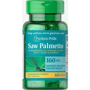 Со Пальметто, Saw Palmetto, Puritan's Pride, стандартизированный экстракт, 160 мг, 60 гелевых капсул