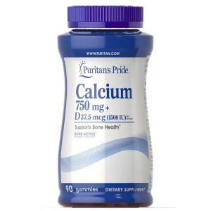 Кальций плюс витамин D3, Calcium + Vitamin D, Puritan's Pride, 750 мг/37,5 мкг (1500 МЕ), 90 жевательных конфет