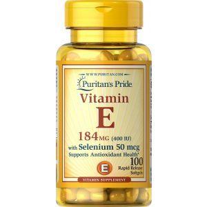 Витамин Е с селеном, Vitamin E, Puritan's Pride, 400 МЕ/50 мкг, 100 гелевых капсул