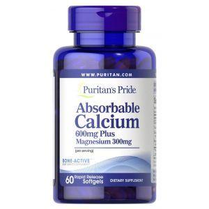 Кальций плюс магний, Absorbable Calcium plus Magnesium, Puritan's Pride, 600 мг/300 мг, 60 гелевых капсул
