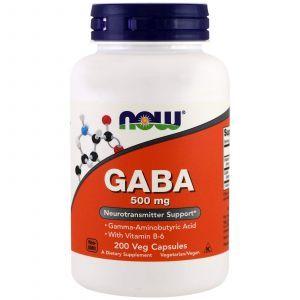 ГАМК природный успокаивающий эффект, GABA, Now Foods, 200 капс