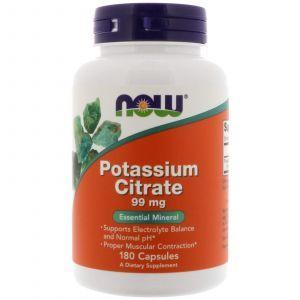 Калий цитрат, Potassium Citrate, Now Foods, 99 мг, 180 капсу