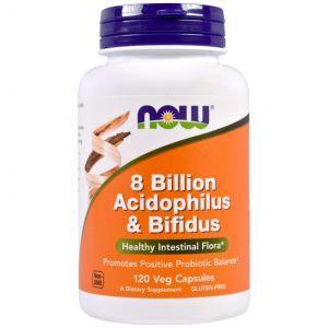 Пробиотики, Acidophilus & Bifidus, Now Foods, 8 млрд КОЭ, 120 кап