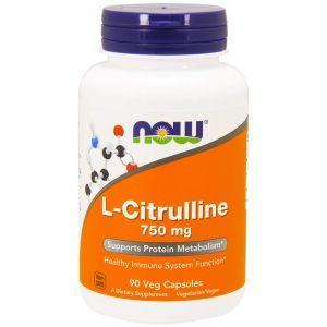 Цитруллин, L-Citrulline, Now Foods, 750 мг, 90 кап