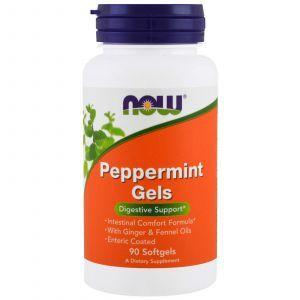 Перечная мята в капсулах, Peppermint Gels, Now Foods, 90 гелевых ка