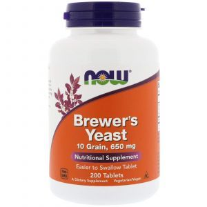 Пивные дрожжи, Brewer's Yeast, Now Foods, 650 мг, 200 т