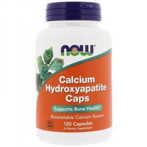 Кальций и фосфор в капсулах, гидроксиапатит кальция, Calcium Hydroxyapatite, Now Foods, 120 капс