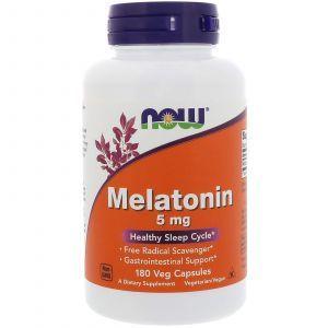 Мелатонин, Melatonin, Now Foods, 5 мг, 180 капс