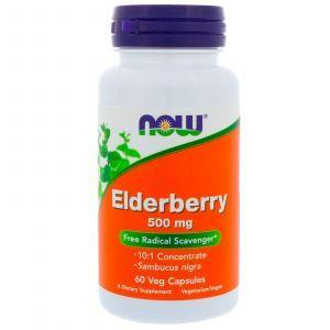 Здоровый иммунитет (бузина), Elderberry, Now Foods, экстракт, 500 мг, 60 ка