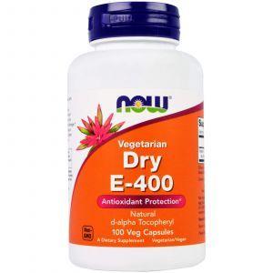 Витамин Е сухой, Dry E-400, Now Foods, 400 МЕ, 100 кап