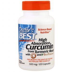 Куркумин, Curcumin, Doctor's Best, комплекс, 500 мг, 120 к