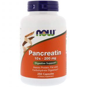 Панкреатин, Pancreatin, Now Foods, 10X 200 мг, 250 капс