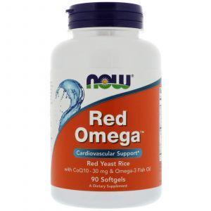 Красный рис, омега, Q10 (Omega, Red Yeast Rice), Now Foods, 90 капс