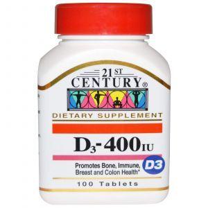 Витамин Д3, Vitamin D3, 21st Century Health Care, 400 МЕ, 100 та