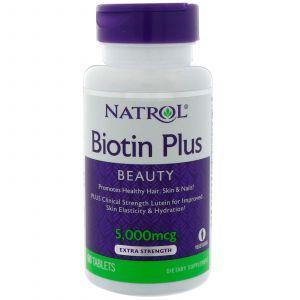 Биотин плюс лютеин, Biotin Plus with Lutein, Natrol, 60 таблет
