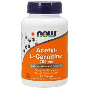 Ацетил карнитин, Acetyl-L Carnitine, Now Foods, 750 мг, 90 таблет