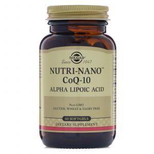 Коэнзим Q10 и альфа липоевая кислота, Nutri-Nano CoQ-10 Alpha Lipoic Acid, Solgar, 60 капс