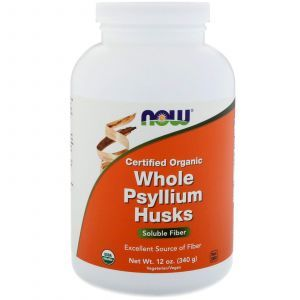Подорожник органический, Whole Psyllium, Now Foods, 340 г