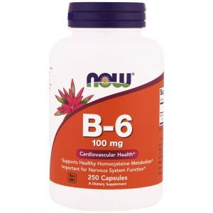 Витамин В6, Vitamin B-6, Now Foods, 100 мг, 250 капсу