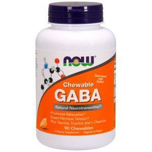 ГАМК, Гамма-аминомасляная кислота, GABA, Now Foods, апельсин, 90 таблето