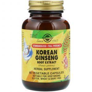 Женьшень корейский, Korean Ginseng, Solgar, экстракт, 60 капс
