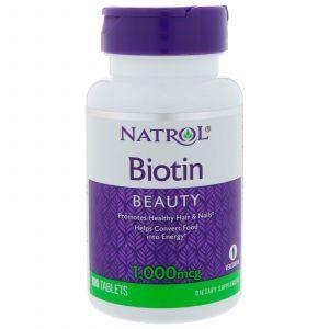 Биотин, Natrol, Biotin, 1000 мкг, 100 таблето