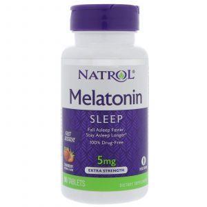 Мелатонин, Melatonin, Natrol, быстрорастворимый, вкус клубники, 90 таблето