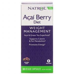 Асаи и зеленый чай для похудения, Acai & Green Tea, Natrol, ягодная диета, 60 ка