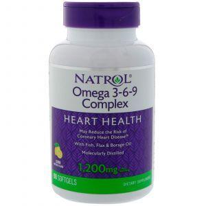 Омега 3 6 9, Omega 3-6-9 Complex, Natrol, с лимонным вкусом, 1200 мг, 90 капс