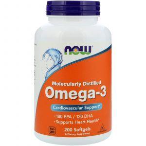 Омега 3, поддержка сердца, Omega-3, Now Foods, 180 EPA/120 DHA, 200 капс
