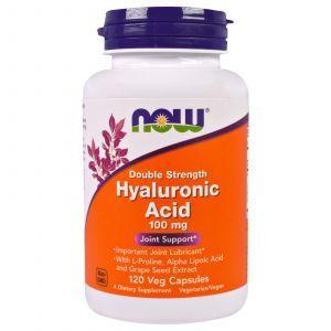 Гиалуроновая кислота, Hyaluronic Acid, Now Foods, 100 мг, 120 капсу
