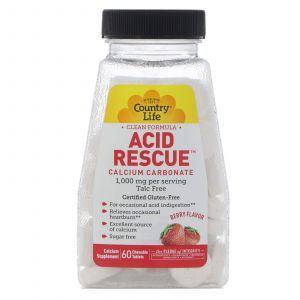 Карбонат кальция с ароматом ягод, Calcium Carbonate, Country Life, 1 000 мг, 60 таб.