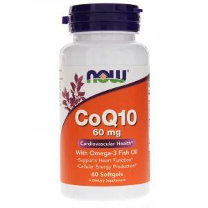 Коэнзим Q10 с Омега-3, CoQ10, Now Foods, 60 мг, 60 гелевых капсул