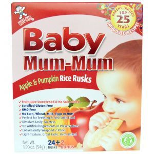 Рисовое детское печенье, яблоко, тыква, Baby Mum-Mum, Hot Kid, 54 г