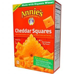 Запеченные квадратные крекеры с чеддером (Snack Crackers), Annie's Homegrown, 213 г.