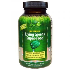 Зеленая пища, Sun Powered Living Greens Super-Food, Irwin Naturals, 60 гелевых капсул