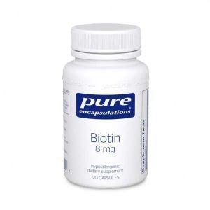 Биотин, Biotin, Pure Encapsulations, 8 мг, 120 капсул