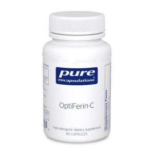 Пищевая добавка железа, OptiFerin-C, Pure Encapsulations, для поддержки здоровой кожи, абсорбции железа и общего здоровья иммунной системы, 60 капсул