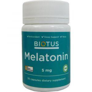 Мелатонин, Melatonin, Biotus, 5 мг, 30 капсул