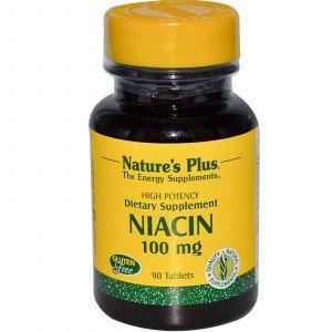 Ниацин, Niacin, Nature's Plus, 100 мг, 90 таблеток