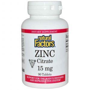 Цитрат цинка, Natural Factors, 90 таблеток