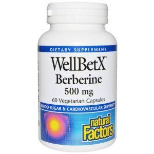 Берберин, WellBetX Berberine, Natural Factors, 500 мг, 60 капсул