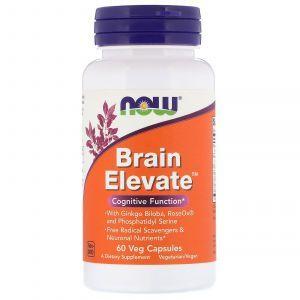 Витамины для памяти, Brain Elevate, Now Foods, 60 капсул